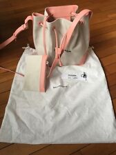 Balenciaga Ligne Pink Canvas Bucket Bag Leather 2016 New Authentic Leather Trim