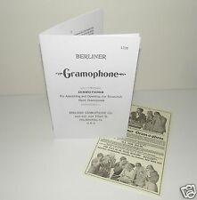 Berliner Gramophone Phonograph 1896 Reproduction Instruction Manual  + Advert