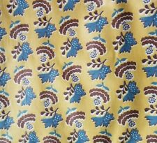 "Vintage fabric everglaze polished cotton chintz brown mustard blue 36"" x 3 yards"