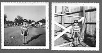Lot of 2 Vintage 1950s Photos ADORABLE LITTLE BOY IN COWBOY HAT