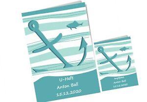 U-Heft Hülle Impfpass Hülle für Junge Uheft mit Namen Anker Fische