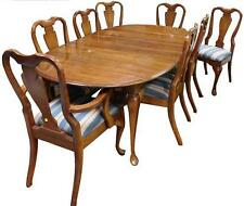 Queen Anne style 9-pc dining room table and eight chairs, c. 1980: ova... Lot 49