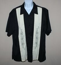 Xl Mens Havanera Mexican Wedding Shirt Black and Cream Embroidered Rayon Blend