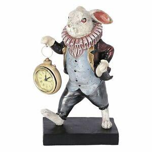 Relojes de Mesa Estatuilla De Conejo Con Reloj En Mano De Apoyo Vintage