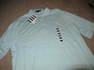 nwt Land's End seafoam blue short sleeve cotton polo shirt mens M free ship USA