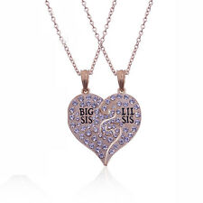 2 Pcs Fashion Jewelry Two Split Diamond Broken Heart Sisters Pendant Necklace