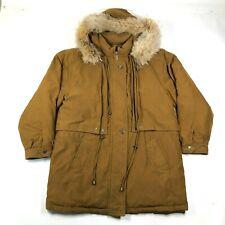 Vintage Field Gear Down Jacket Coat Womens Petite M Brown Genuine Fur Hood