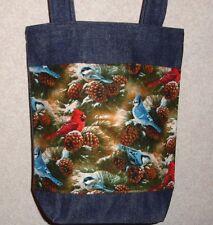 New Handmade Cardinal Blue Jay Evergreen Winter Birds Snow Small Denim Tote Bag