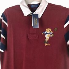 NWT Polo Ralph Lauren Rugby Bear Polo Shirt Red white Mens XL Rare Football