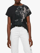 All Saints XS/S 6 8 10 12 T-shirt Tee Top Black Boyfriend Eagle Wing NWT RRP £40