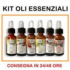 Set 4 o 6 Oli Essenziali per Diffusori Naturali Puri al 100% 15ml Profumati Olio