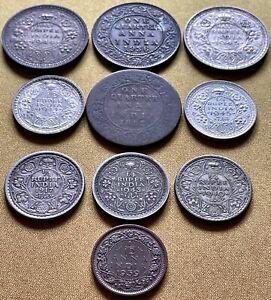 India Anna Rupee Coin Lot 10 Coins Half Quarter 1882 1917 1936 1940 1943 1944