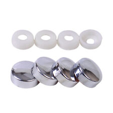 4X Silver Car Truck Smooth Security Screw Cap Bolt Cover Set License Plate Frame