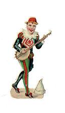 Un chromo - Découpis  - Thème du cirque : 1 clown musicien   -  non collé - 9 cm