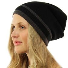 Unisex Winter Warm Stripe Knit Slouch Long Beanie Skully Ski Snow Hat Cap Black