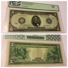 VINTAGE rare $5 Fr. 871c 1914 CHICAGO FEDERAL RESERVE NOTE FIVE DOLLARS PCGS 35