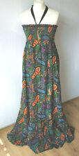 Floral Maxi Dress Paisley Print Shirred 70's Style Pockets Boho Empire Medium