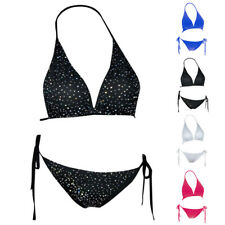 Mujer Triangulo Sujetador Bikini Traje de Baño Diseño Diamantes Clásico Vendajes