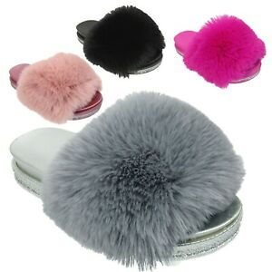 Ladies Fur Furry Flat Slippers Womens Glittery Fluffy Mules Sliders Shoes Size