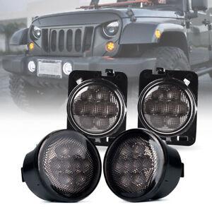 Xprite LED Turn Signal & Fender Side Light Smoke Lens for 07-18 Jeep Wrangler JK