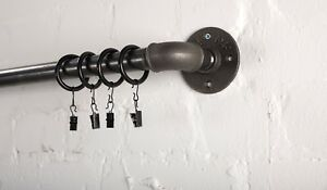 CURTAIN POLE / RAIL AND BRACKET SET- VINTAGE LOOK FROM INDUSTRIAL PIPE FITTINGS!