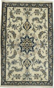 3X5 Cream Classic Floral Design Nain Oriental Rug Hand-Knotted Wool Carpet 3X4'7