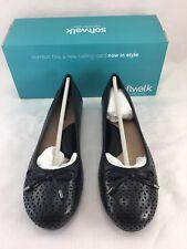 Softwalk Napa Laser Cut Ballet Flats Womens 9 M Perforated Black Bow Detail New