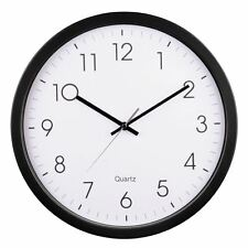 Hama Black 35cm Clear Dial Quartz Black with White Face Wall Clock