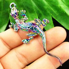 F90610 Rainbow Plated Tibetan Silver Gecko Pendant Bead 72x30x4mm