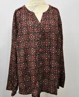 Croft & Barrow Long Sleeve Hidden Button Top Size 3X Floral blouse Women's NWT
