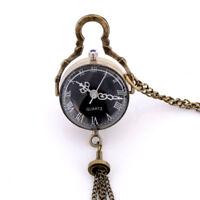 Retro Vintage Crystal Glass Pocket Quartz Watch Pendant Necklace Roman Numerals