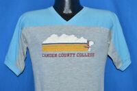 vintage 80s SNOOPY CAMDEN COUNTY COLLEGE GRAY BLUE JERSEY ARTEX t-shirt SMALL S