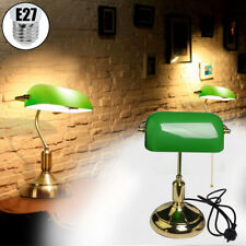 LED Vintage Retro Bankers Antique Brass Green Desk Table Study Lamp Globe Light