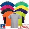 3 PACK Russell MEN'S T-SHIRT SLIM FIT SOFT PREMIUM COTTON T-SHIRTS NEW MULTIPACK