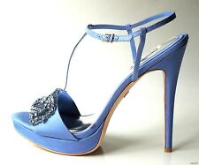 new BADGLEY MISCHKA blue satin open-toe JEWELED T-strap pumps shoes heels 10