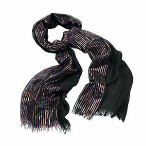 SC29070 Black Ladies Fashion Striped Lurex Scarf