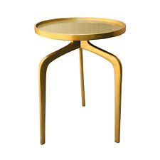 Golden Brass Finish Metal Living Room Industrial Sofa Side Table
