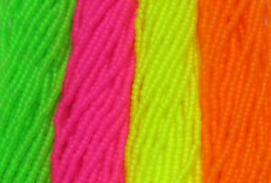 Czech 10/0 Rocaille Glass Seed Beads Neon Dyed Crystal Matte UV Reactive Bundle
