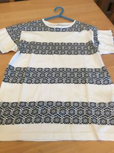 boys clothes 11-12 years Rebel White Cotton Black Patterned Short Sleeved Top