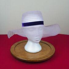 Vintage 1970s Floppy Hat Bonnet Bridesmaid Purple Velvet Ribbon