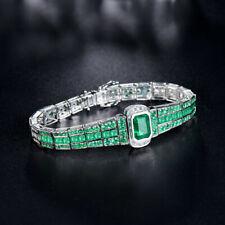 Cut Emerald & Diamond Tennis Bracelet 14k White Gold Over Princess & Round