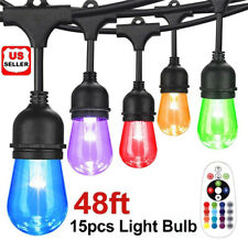 48ft String Lights RGB Cafe LED String Lights w/15 S14 Bulbs Backyard Waterproof