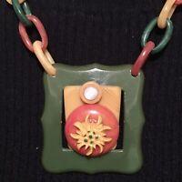 Ooak Orange, Butterscotch & Olive Green Bakelite Necklace