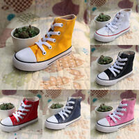 Kids Canvas Shoes Girls Boys High Top Sneakers Child Running Walking Comfy Flats