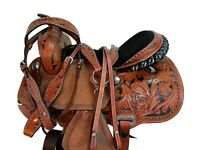 15 16 ARABIAN HORSE WESTERN SADDLE PLEASURE BLACK FLORAL TOOLED TRAIL TACK SET
