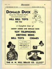 1936 PAPER AD Mickey Mouse Donald Duck Toy Bell Chime Hill Drums Tambourines