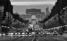 B & W Print Of Champs Elysee Paris. Cityscape Art & Photography Poster Picture