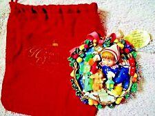 """Ashton Drake Heirloom Ornament """"Christmas Eve stocking"""" Red Velvet Bag 3-D New"""