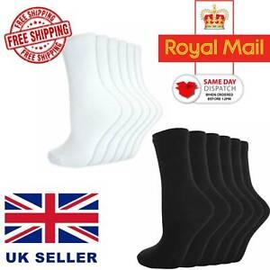 Daily Use Womens Mens Ladies Girls Ankle Socks Cotton Plain Black White Socks