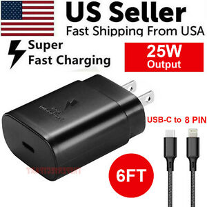 25w Type USB-C Super Fast Wall Charger + 6FT Cable For iPhone 12 / iPad / 8 PIN